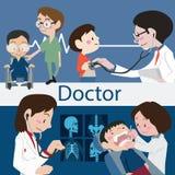 Doctores y vector del ejemplo del personal Imagenes de archivo