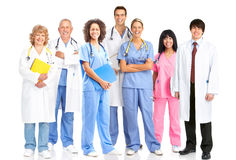 Doctors. Smiling medical people with stethoscopes. Doctors and nurses over white background stock photo