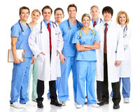 Doctors. Smiling medical people with stethoscopes. Doctors and nurses over white background stock images