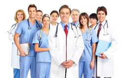Doctors. Smiling medical doctors with stethoscope. Isolated over white background Royalty Free Stock Image