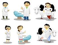 The Doctors. A group of doctors, dentists, and vets Vector Illustration