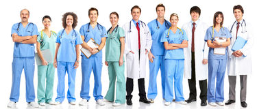 Doctors. Smiling medical doctors with stethoscopes. Isolated over white background stock image