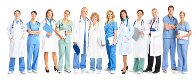 Doctors. Smiling medical doctors with stethoscopes. Isolated over white background Royalty Free Stock Photo