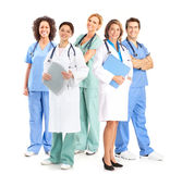 Doctors. Smiling medical doctors with stethoscopes. Isolated over white background stock photo