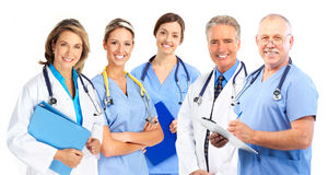 Doctors. Smiling medical doctors with stethoscopes. Isolated over white background