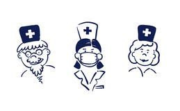 Doctors. Vector illustration - the people in the profession of doctors stock illustration