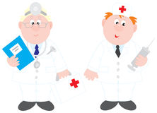 Doctors. Vector clip-arts of two doctors, on a white background Royalty Free Stock Photography