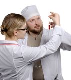 Doctors. Image about two colleagues - doctors in hospital on a symposium Royalty Free Stock Photos