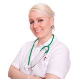 Doctors. A female doctor on white background Royalty Free Stock Photography
