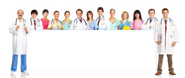 Doctors. Smiling medical people with stethoscopes. Doctor and nurse over white background