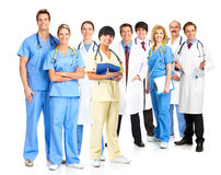 Doctors. Smiling medical people with stethoscopes. Doctors and nurses over white background