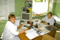 Doctors on admission to a rural clinic in Kaluga region in Russia. Stock Photo