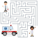 Doctors and Ambulance Maze for Kids. Healthcare maze game for children. Help the two doctors to find the way to reach the ambulance car. Eps file available Royalty Free Stock Images