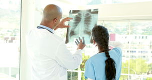 Doctors analyzing together xray. In medical office stock video