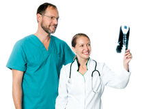 Doctors analyzing an x ray Royalty Free Stock Image