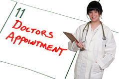 Doctors Appointment. Doctor and calendar reminder for a Doctors Appointment stock images