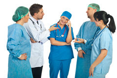 Doctors asks for explanations to a nurse Royalty Free Stock Photo