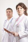 doctors att le för läkarundersökning Royaltyfri Fotografi