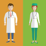 Doctors avatar. Illustration of a female and male Asian doctors. Flat illustration royalty free illustration