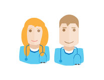 Doctors avatars set Stock Image