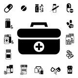 Doctors Bag with Cross or Medical Suitcase Vector Icon Royalty Free Stock Images