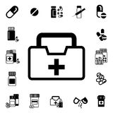 Doctors Bag with Cross or Medical Suitcase Vector Icon Royalty Free Stock Photography