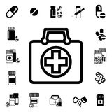Doctors Bag with Cross or Medical Suitcase Vector Icon Royalty Free Stock Photos