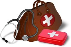 Doctors bag, stethoscope and medibox Royalty Free Stock Image