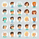 Doctors Cartoon Characters Icons Set2 stock illustration