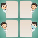 Doctors Cartoon Characters Looking at Blank Poster Set Stock Photo