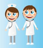 Doctors cartoons. Woman and men doctors cartoons with stethoscope. vector stock illustration