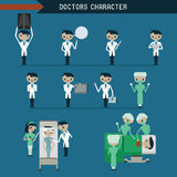 Doctors character. Set and infographic Illustrator royalty free illustration