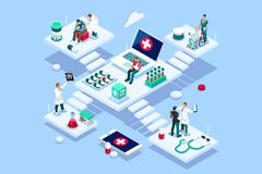 Doctors Clinic Insure Concept Vector. Persons at office, medical assistance. Patient room with healthcare insurer. Clinic insure a doctor. Insurance and vector illustration