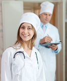 Doctors in clinic interior Royalty Free Stock Photos