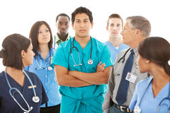 Doctors: Concerned Physician Leads Group Royalty Free Stock Image