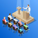 Doctors Conference Talk Composition. Isometric people doctor composition with faceless human character unveiling pressure measuring instrument on medical Stock Photo