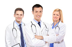 doctors det lyckliga medicinska laget Royaltyfri Bild