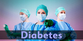 Doctors diabetes. Medical female doctors with gloves, stethoscope and mask Royalty Free Stock Photos