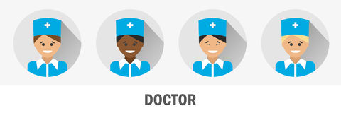 Doctors of different nationalities. Doctor flat icon Stock Image