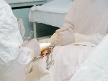 Doctors do surgery on the patient's organs sew wound hospital Royalty Free Stock Image