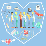 Doctors Examination Patients With Medicine Related Objects In Heart Shaped Frame Stock Images