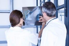 Doctors examining a x report Stock Photo