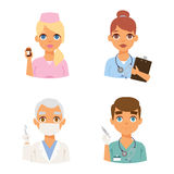 Doctors faces vector set. Group of doctors and nurses and medical staff people. Medical team doctors specialists concept in flat design people characters Stock Photography