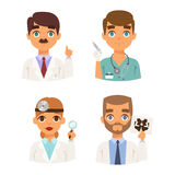 Doctors faces vector set. Group of doctors and nurses and medical staff people. Medical team doctors specialists concept in flat design people characters Royalty Free Stock Photography