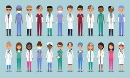 Doctors in flat design. Animated medical characters. Vector illu. Doctors, nurses and surgeons characters. Animated medical people. Flat avatars. Vector. Set Stock Photography