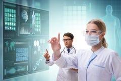 The doctors in future telemedicine concept. Doctors in future telemedicine concept royalty free illustration