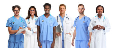 Doctors group. Group of medical doctors isolated white background Stock Photo