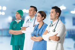 Doctors group, surgeon and nurse on hospital background royalty free stock photos