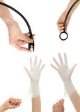 Doctors hand in white hygienic glove and stethoscope in hand. Get ready for treatment doctors hand in white hygienic glove and stethoscope in hand royalty free stock image