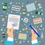 Doctors Hands Sign Prescription And Medicaments Stock Photo